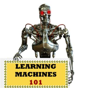 Android robot holding the Learnikng Machines 101 sign.