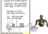 Robot and human participating in the Turing Test.