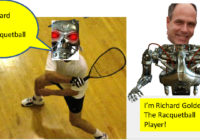 Robot with human head playing racquetball and human with robot body.