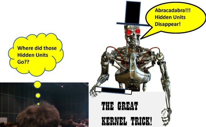 Robot doing a magic show and making hidden units disappear using the kernel trick.