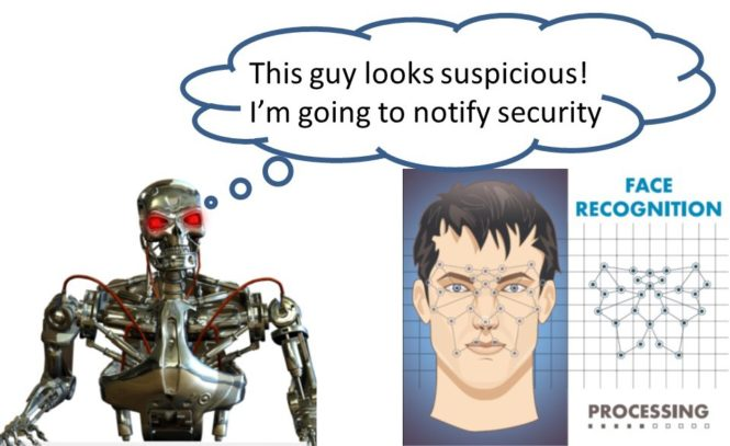 Robot looking at a facial image from a security camera.